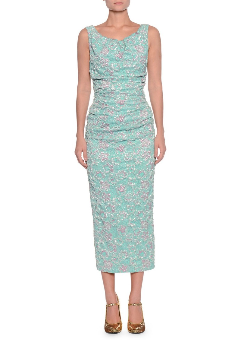 Miu Miu Boat-Neck Sleeveless Ruched-Waist Metallic Cloque Midi Dress