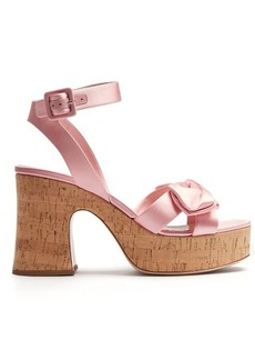 Miu Miu Bow-detail satin platform sandals