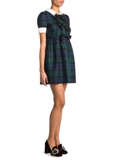 Miu Miu Bow-Detail Tartan Dress