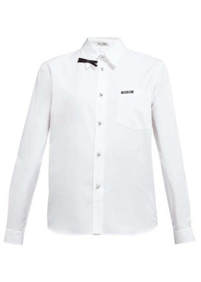 Miu Miu Bow-embellished cotton-poplin shirt