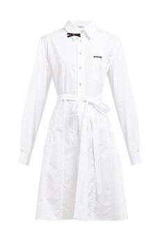 Miu Miu Bow-embellished cotton-poplin shirt dress