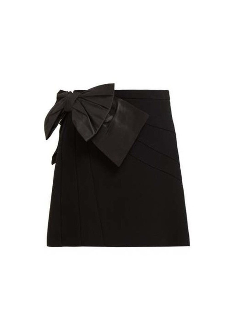 Miu Miu Bow-embellished crepe mini skirt