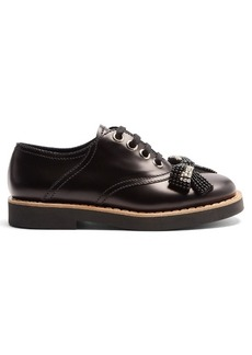 Miu Miu Bow-embellished lace-up leather derby shoes
