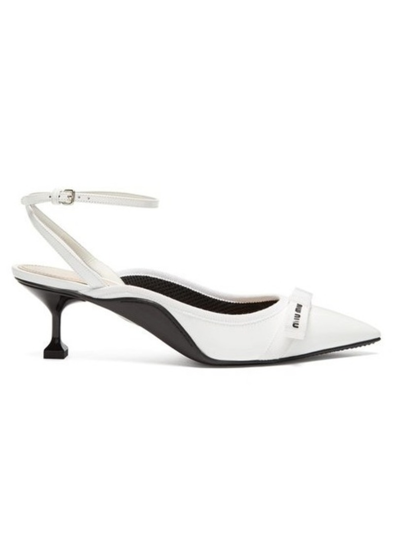 Miu Miu Bow-embellished patent-leather kitten heels