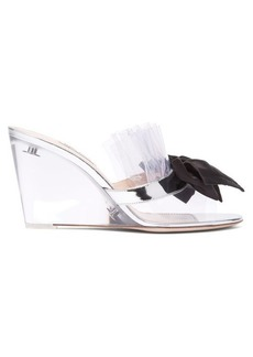 Miu Miu Bow-embellished perspex wedge mules