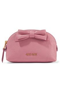 Miu Miu Bow-embellished textured-leather cosmetics case