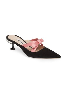 Miu Miu Bow Pointy Toe Mule (Women)