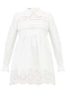 Miu Miu Broderie-anglaise cotton-blend mini dress