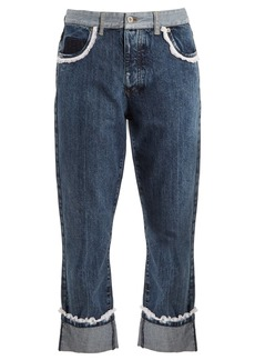Miu Miu Broderie-anglaise trimmed boyfriend jeans