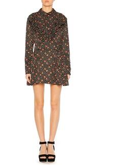 Miu Miu Button-Down Back Floral-Jacquard Silk Long-Sleeve Short Dress