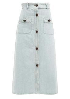 Miu Miu Button-front denim midi skirt