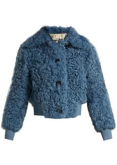 Miu Miu Buttoned shearling bomber jacket
