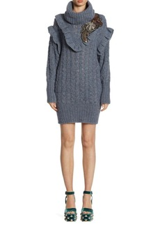 Miu Miu Cable-Knit Embroidered Alpaca Sweater Dress