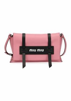 Miu Miu Calf Leather Logo Flap Crossbody Bag