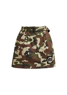Miu Miu Camouflage-print cotton-blend mini skirt