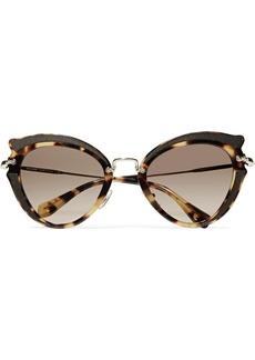 Miu Miu Cat-eye canvas-trimmed acetate and gold-tone sunglasses