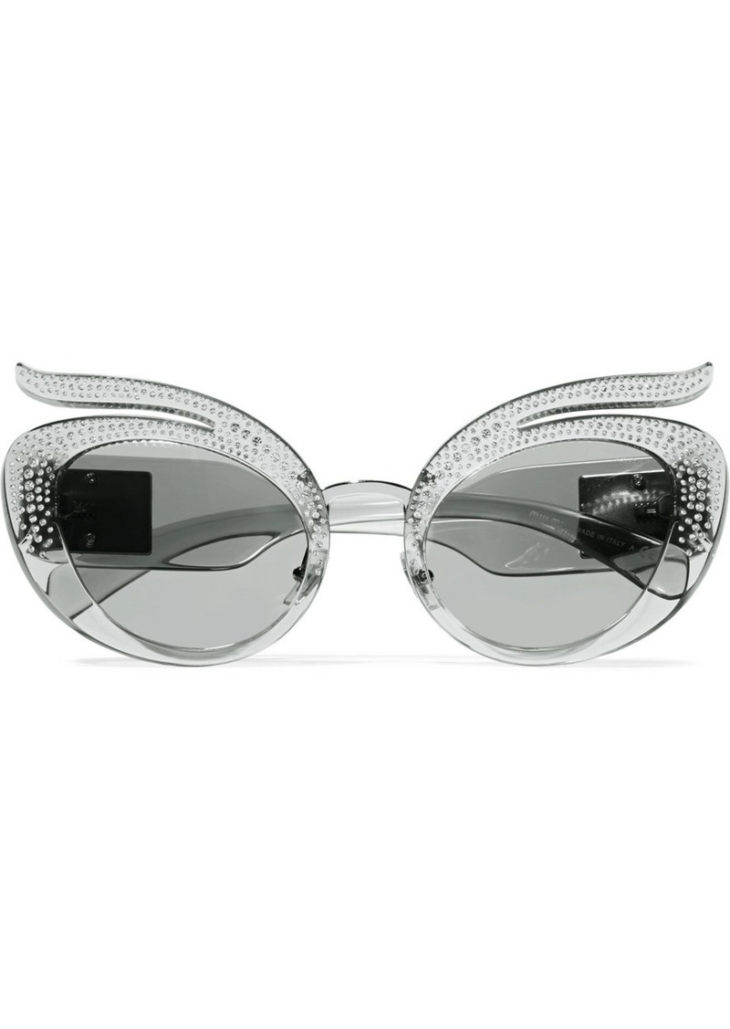 d64a305217b9 Miu Miu Cat-eye crystal-embellished acetate sunglasses