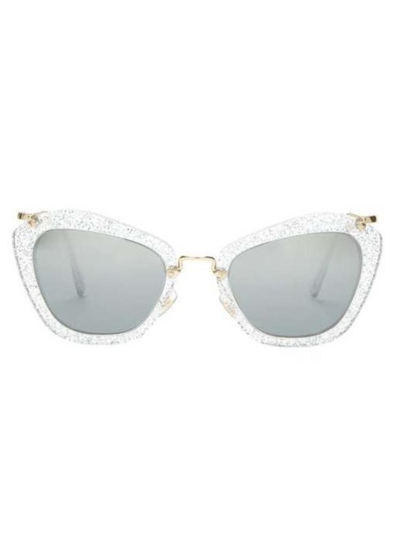 Miu Miu Cat-eye glitter-acetate sunglasses