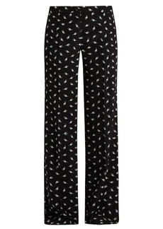 Miu Miu Cat-print wide-leg silk trousers