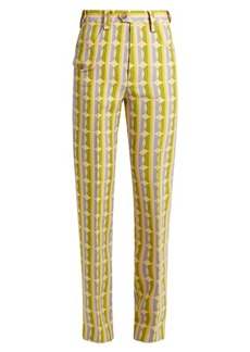 Miu Miu Circle striped-print wool-blend trousers