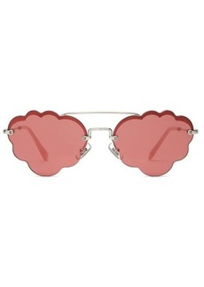 Miu Miu Cloud-frame rimless metal sunglasses