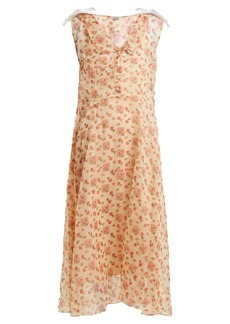 Miu Miu Contrast-collar floral-print dress
