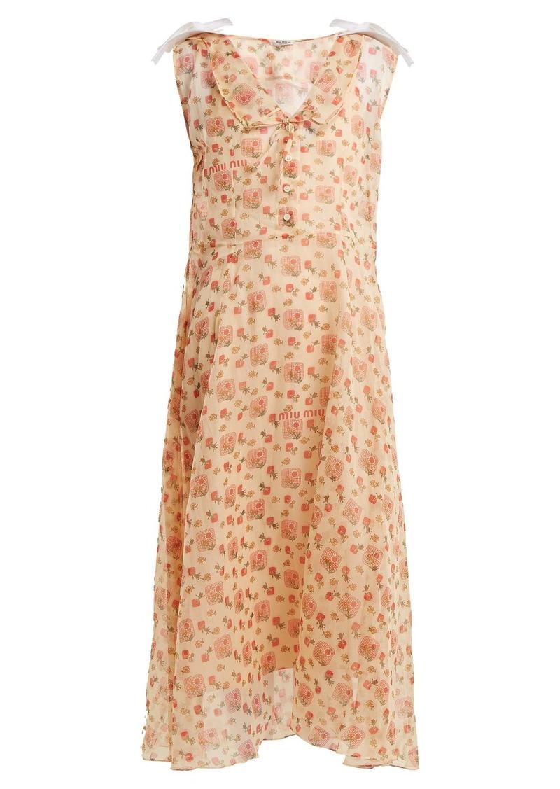 Miu Miu Contrast-collar floral-print dress