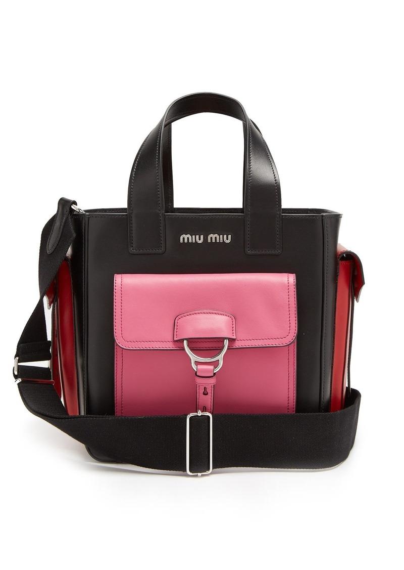 d9e1943d519 Miu Miu Miu Miu Contrast pockets leather tote bag