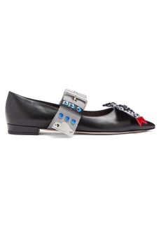 Miu Miu Contrast strap leather flats