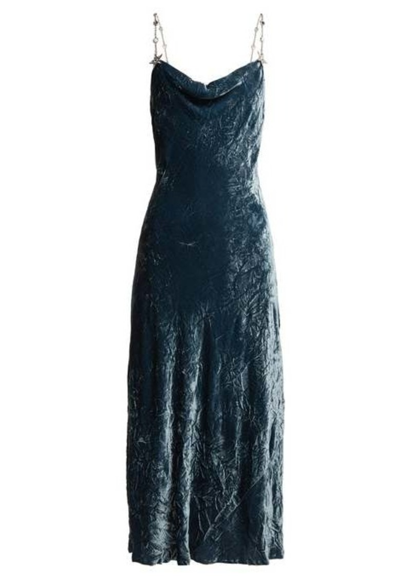 Miu Miu Cowl-neck crushed-velvet dress