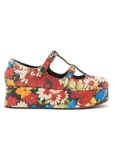 Miu Miu Crackled flower-print Mary-Jane flatform pumps