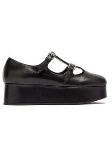 Miu Miu Crackled-leather Mary-Jane flatforms