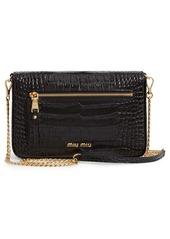 Miu Miu Croc Embossed Calfskin Leather Crossbody Bag