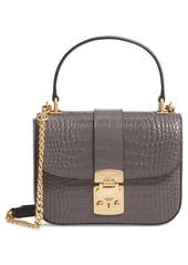Miu Miu Croc Embossed Leather Top Handle Bag
