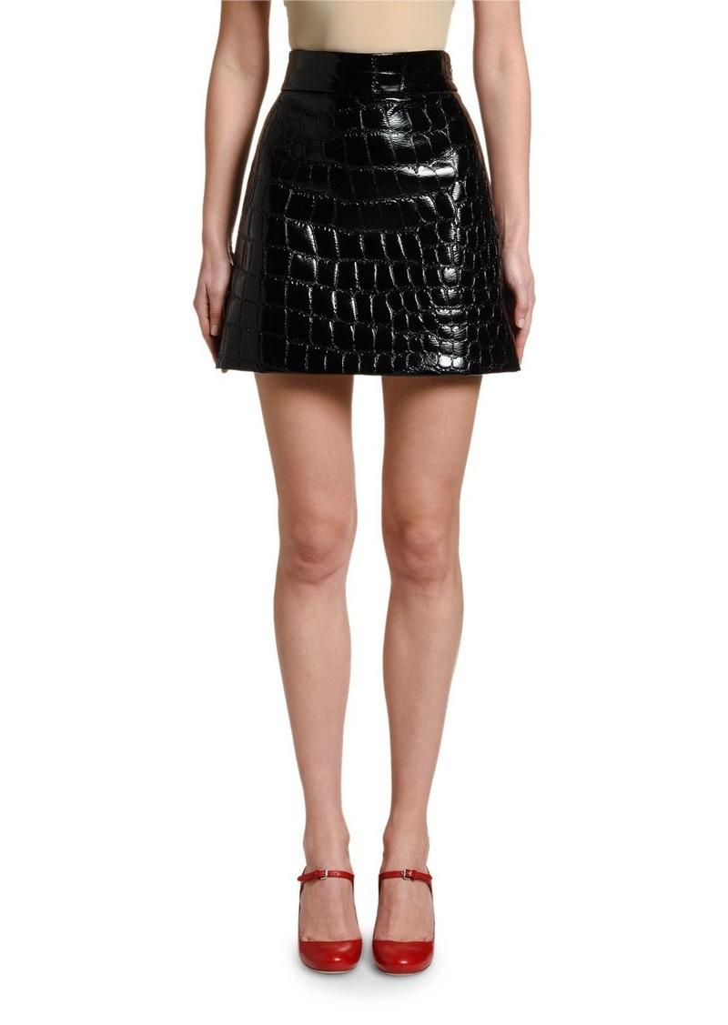 Miu Miu Croc-Stamped Mini Skirt