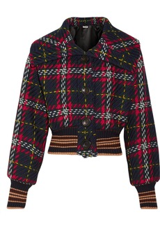 Miu Miu Cropped houndstooth wool-tweed bomber jacket