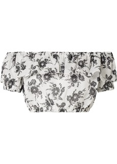 Miu Miu Cropped off-the-shoulder floral-print ramie top
