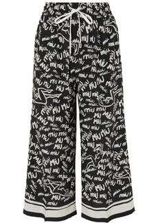 Miu Miu Cropped Printed Silk Crepe De Chine Wide-leg Pants