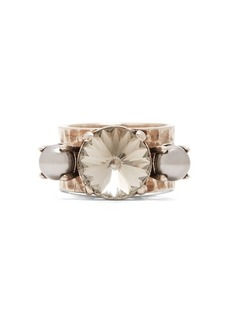 Miu Miu Crystal and faux-pearl ring