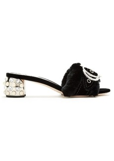 Miu Miu Crystal and pearl-embellished rabbit-fur sandals