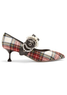 Miu Miu Crystal and pearl-embellished tartan pumps