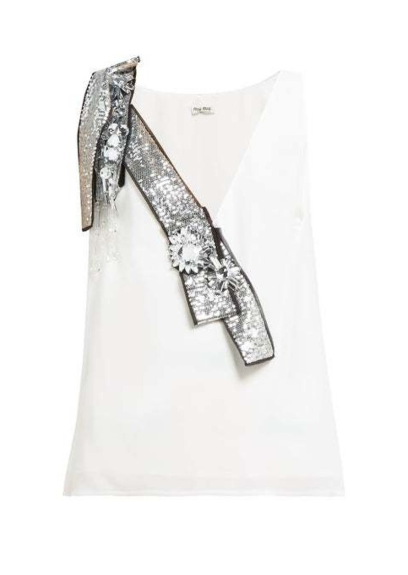 Miu Miu Crystal and sequin-embellished crepe top