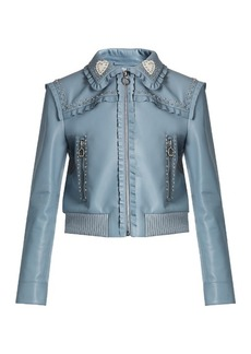 Miu Miu Crystal and stud-embellished leather bomber jacket