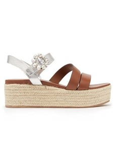 Miu Miu Crystal-buckle leather flatform espadrilles