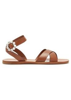 Miu Miu Crystal-buckle leather sandals