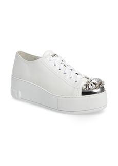 Miu Miu Crystal Cap Toe Sneaker (Women)