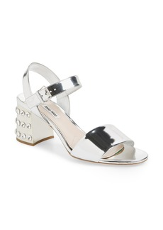 Miu Miu Crystal Embellished Block Heel Sandal (Women)