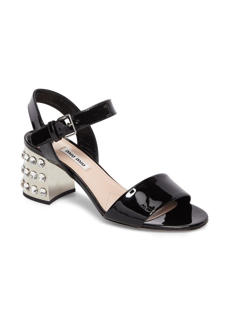 9621e9dd97 Miu Miu Miu Miu Crystal Embellished Block Heel Sandal (Women) | Shoes