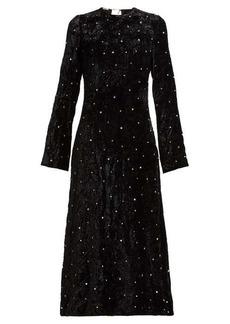 Miu Miu Crystal-embellished open-back velvet dress