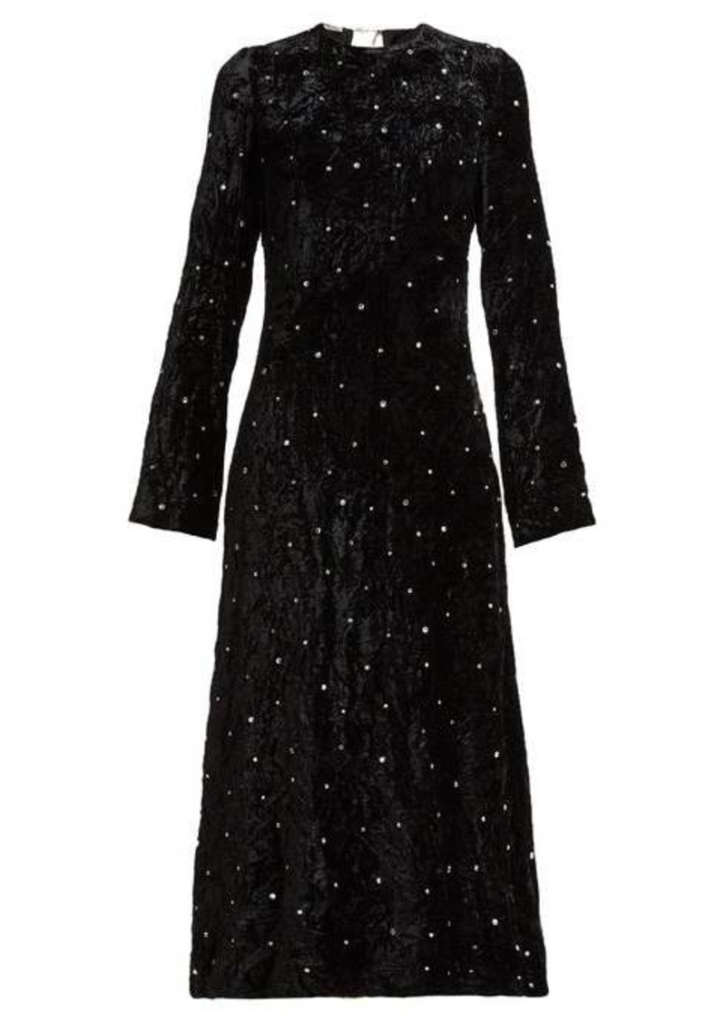 Miu Miu Crystal-embellished open-back velvet dress